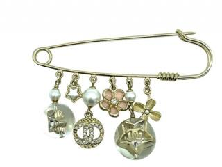 Chanel Gold Tone Safety Pin Charm Drop Brooch
