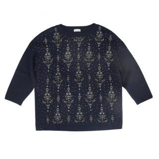 Dries Van Noten Navy Wool Crystal Embellished Jumper