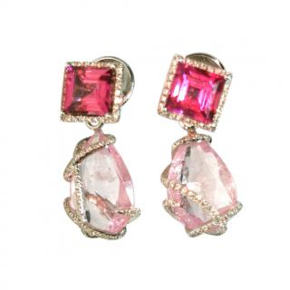William & Son Diamond/Tourmaline Earrings w/ Removable Morganite Drops