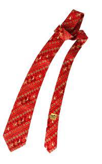 Hermes Red Fox & Pheasant Print Silk Tie