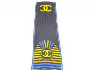 Chanel Paris/Egypt Navy & Gold Silk Printed Scarf
