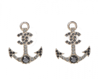 Chanel Crystal Embellished CC Anchor Earrings