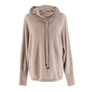 Max & Moi Beige Cashmere Mink Trimmed Draped Neck Sweater