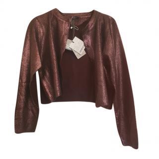Marina Rinaldi Burgundy Metallic Cardigan