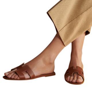 Hermes Gold Box Leather Oran Sandals