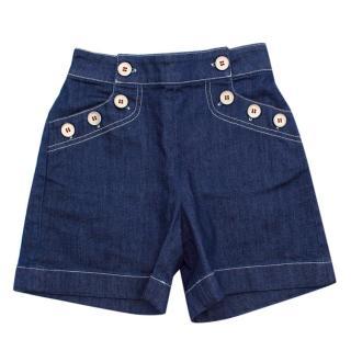 Bonpoint Blue Cotton Denim Button Details Shorts
