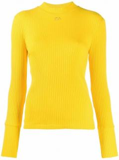 Courreges Yellow Ribbed High Neck Top