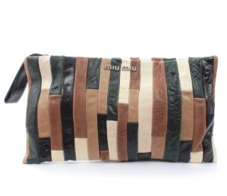 Miu Miu Striped Patchwork Tonal Clutch