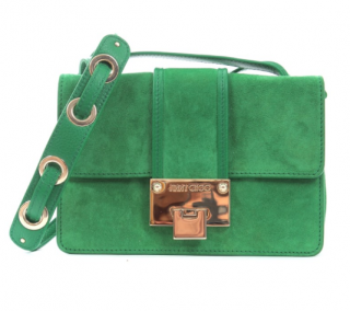 Jimmy Choo Green Suede Rebel Shoulder Bag