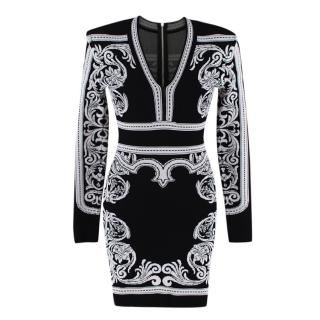 Balmain Black & White Knit Long Sleeve Baroque Print Dress