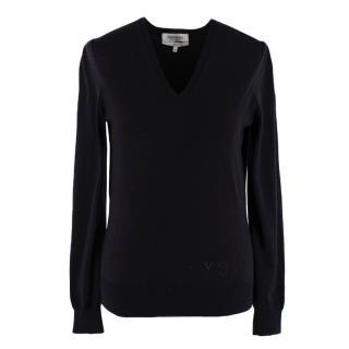 Yves Saint Laurent Black Wool V Neck Knit Sweater