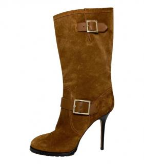 Jimmy Choo Tan Suede Stiletto Boots