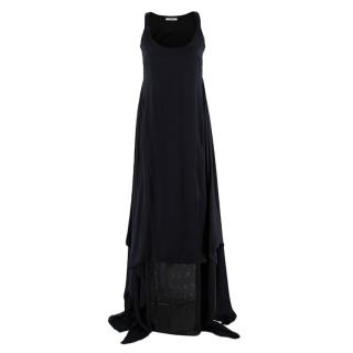 Givenchy Black Silk Satin Asymmetric Maxi Dress