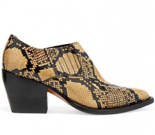 Chloe Yellow Rylee snake effect ankle boots