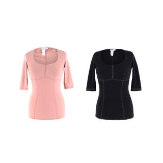 Ernest Leoty Black & Pink Corset Inspired Set of 2 Tops