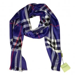 Burberry Blue Plaid Cashmere Scarf