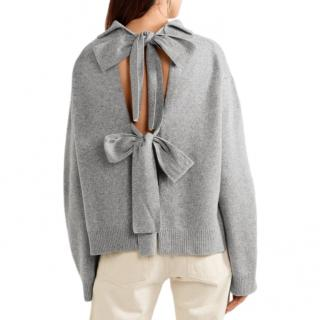 Rejina Pyo Grey Wool & Cashmere Blend Open Back High Neck Sweater