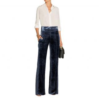 Sonia Rykiel Blue Silk Blend Velvet Tailored Trousers