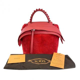 Tod's Red Leather & Mink Fur Wave Backpack