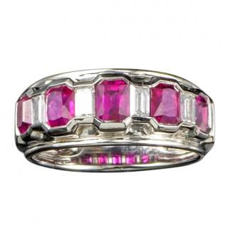 Bespoke Ruby & Diamond 5 Stone Ring