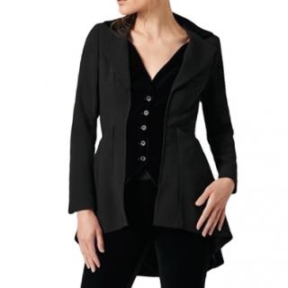 Anne Fontaine Black Vintage Style Crepe Jacket With Velvet Insert