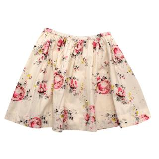 Bonpoint Ivory Floral Print Cotton Ruffled Skirt