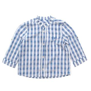 Tartine et Chocolat Blue Gingham Cotton Mandarin Collar Shirt