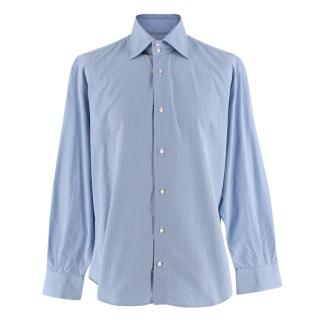 Simone Abbarchi Blue Striped Cotton Long Sleeve Tailored Shirt