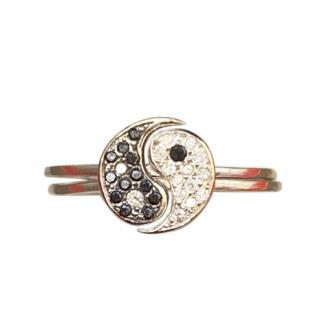 Ileana Makri 18ct White Gold Black & White Diamond Yin Yang Rings