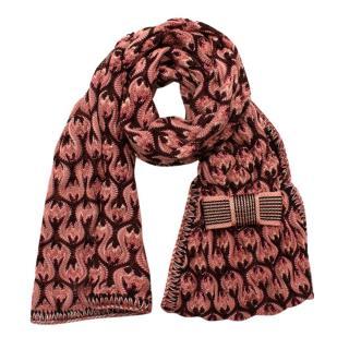 Missoni Kids Pink Wool Blend Knit Scarf