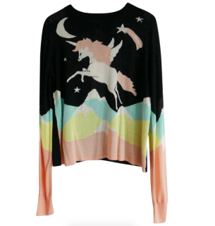Wildfox Couture Knit Jumper in Land Faraway Opal Intarsia