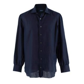 Davino Navy Linen Blend Long Sleeve Hand Tailored Shirt