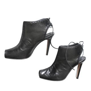 Manolo Blahnik Black Open Toe Lace-Up Sandals