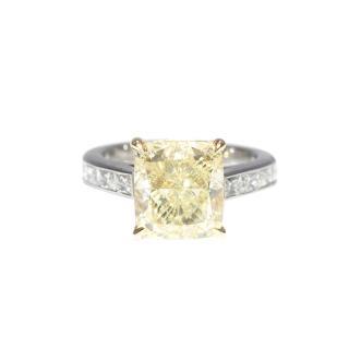 Bespoke Yellow Cushion Cut 4.55ct Very Fine Diamond Platinum Ring