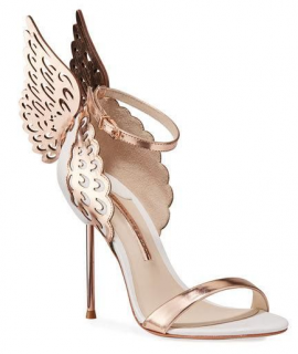Sophia Webster Evangeline White & Rose Gold Sandals