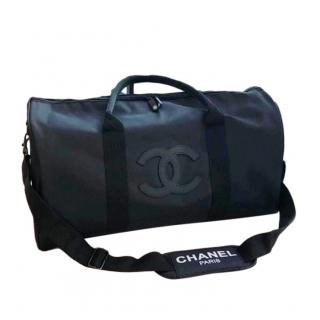 Chanel Black Nylon CC Gym Duffle Bag