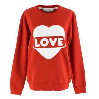 Each X Other Red Cotton Love Print Oversized Sweater