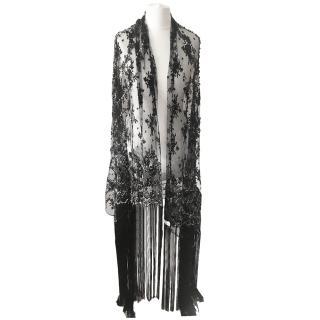 Valentino Black Lace Beaded Fringed Wrap Shawl