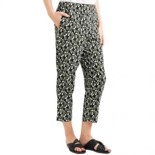 MARNI Floral-print Straight-leg Cropped Trousers In Green