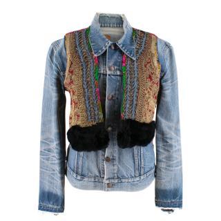 Vintage Denim Distressed Embroidered Vest with Rabbit Fur Trim