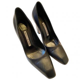 Manolo Blahnik Black Leather Square Toe Pumps