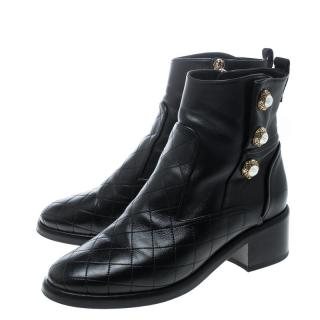 Chanel Black Lambskin Faux Pearl Detailed Ankle Boots
