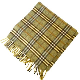 Burberry Olive Lambswool Classic Check Scarf