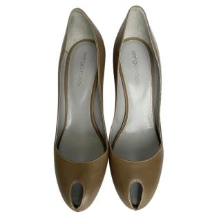 Sergio Rossi Khaki Leather Pumps
