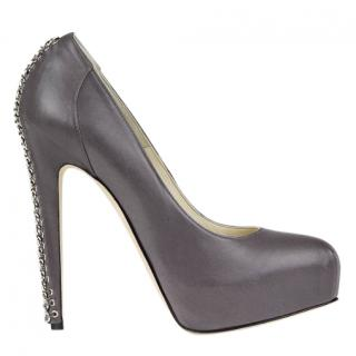 Brian Atwood Chain Trim Grey Harrison Pumps