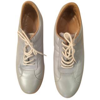 Asprey Pale Blue Leather Sneakers