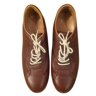 Asprey Brown Leather Lace-Up Sneakers