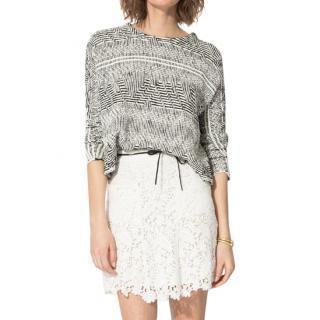 Maje Lace Tie Waist White Mini Skirt