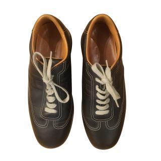 Hermes Brown Leather Sneakers