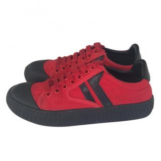 Celine Red & Black Low-Top Sneakers